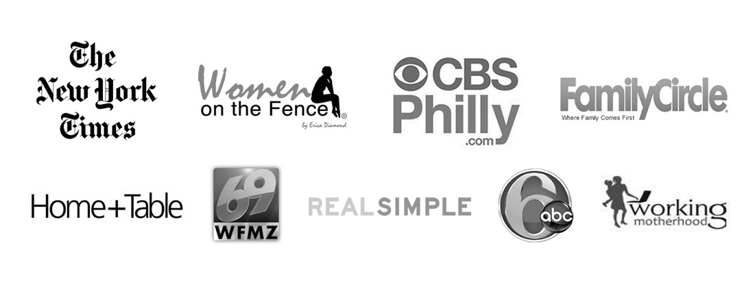 Media outlet logo collage, including The New York Times, FamilyCircle, CBS Philly, ABC, Real Simple, and more.